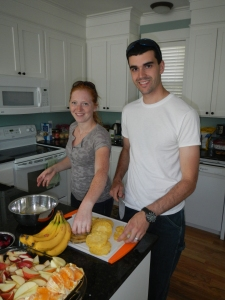 Michelle and Chad making Snacks