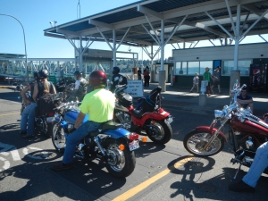 "The sign said ""One Hour Ferry Wait""  but that doesn't apply to motorcycles!  We went straight to the head of the line!"